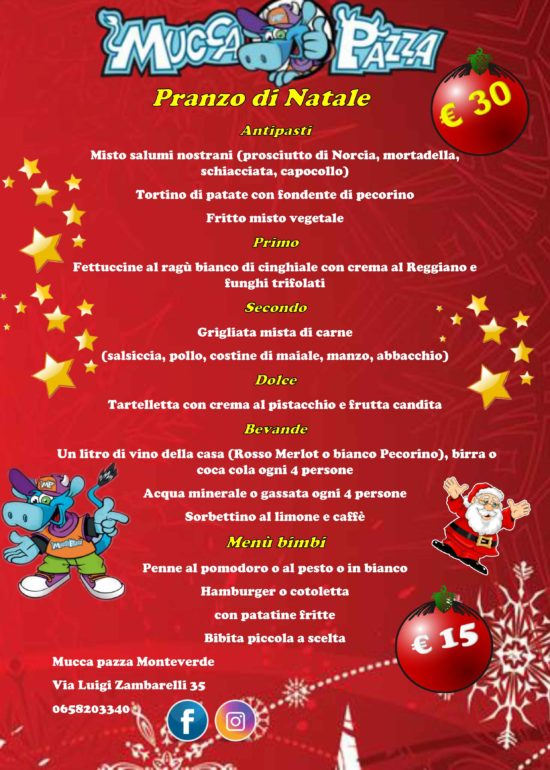 Menu Di Natale Per 30 Persone.Monteverde Menu Natale E Capodanno Ristorante Mucca Pazza