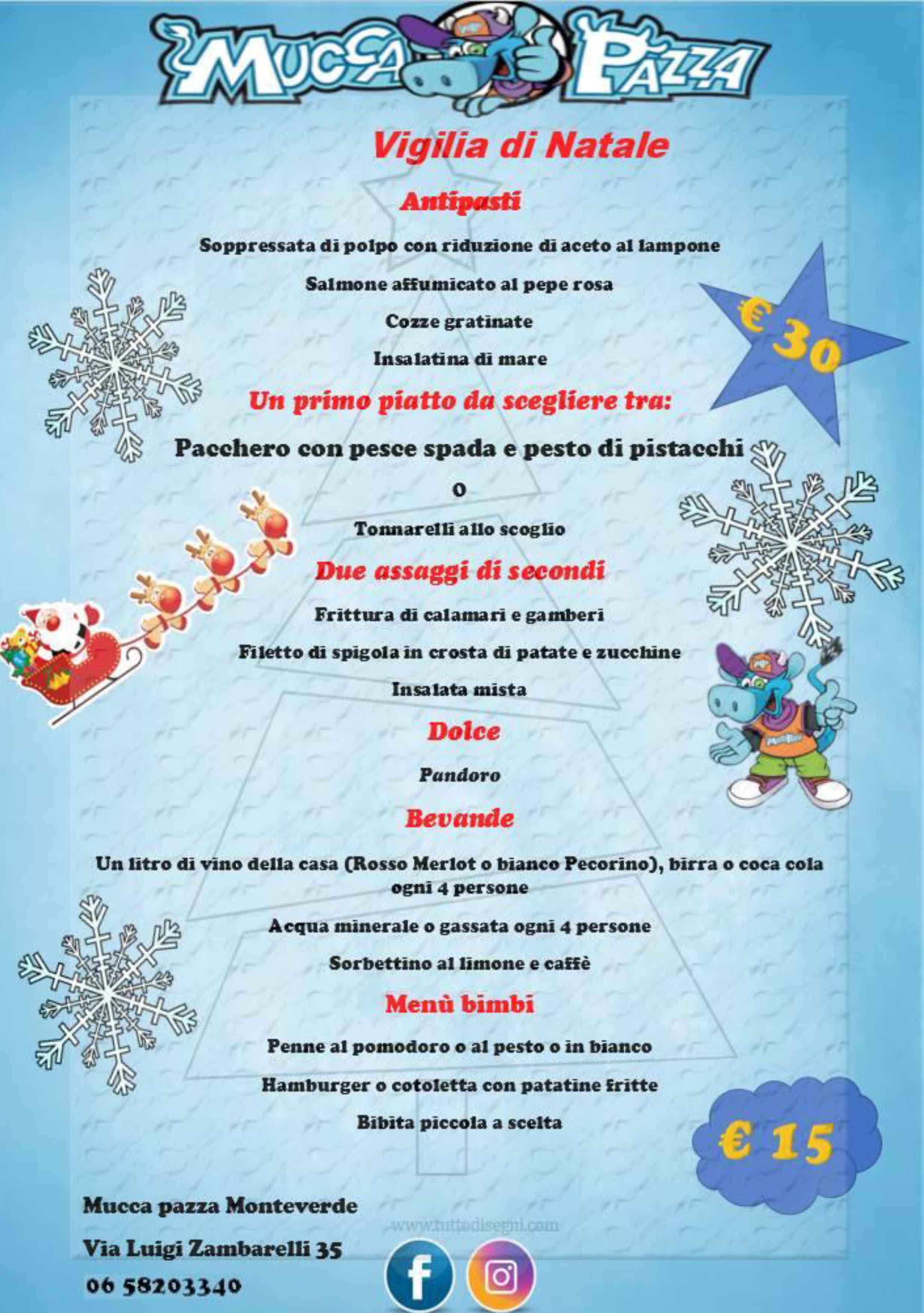 Menu Vigilia Di Natale 2019.Monteverde Menu Natale E Capodanno Ristorante Mucca Pazza